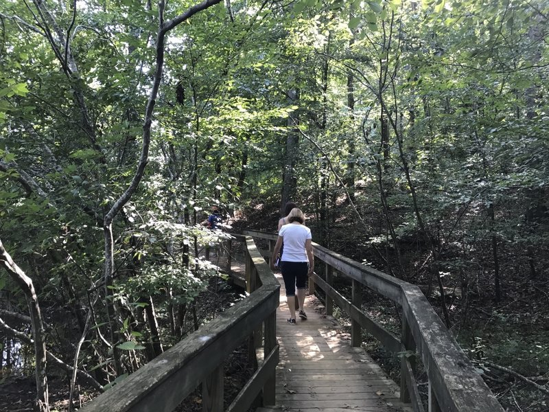 Crossing one of several wooden bridges around Lake Haigler.