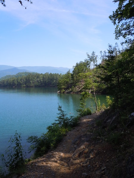 Tsali Left Loop Trail along Fontana Lake/Mouse Branch, Smokey Mountain National Park in the background.