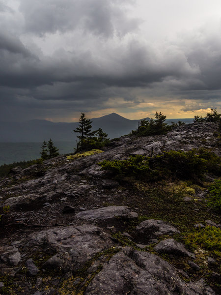 View of Katahdin from Chairback Mountain, just as a storm was rolling in from the west.