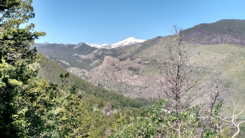 View of Wind River Peak heading down from the top.