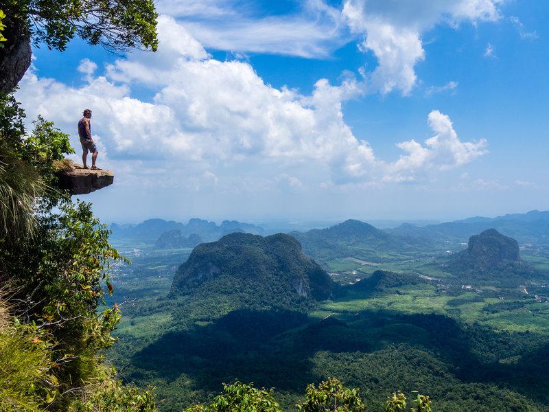 Near the peak, overlooking the landscape below.