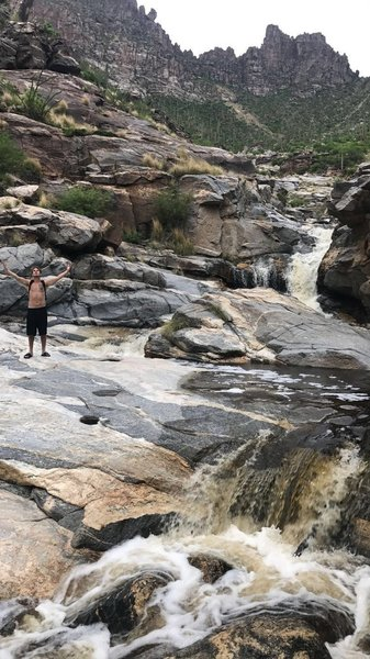 My boy at the top of Sabino Canyon, Seven Falls. It was a day with massive monsoons, where we almost had to be rescued.