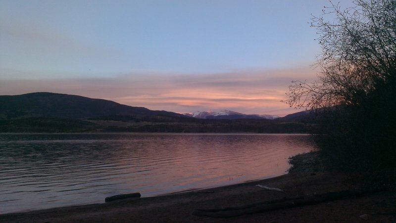 Sunset on Torreys and Grays and the Continental Divide from Frisco Peninsula Lakeshore Loop.