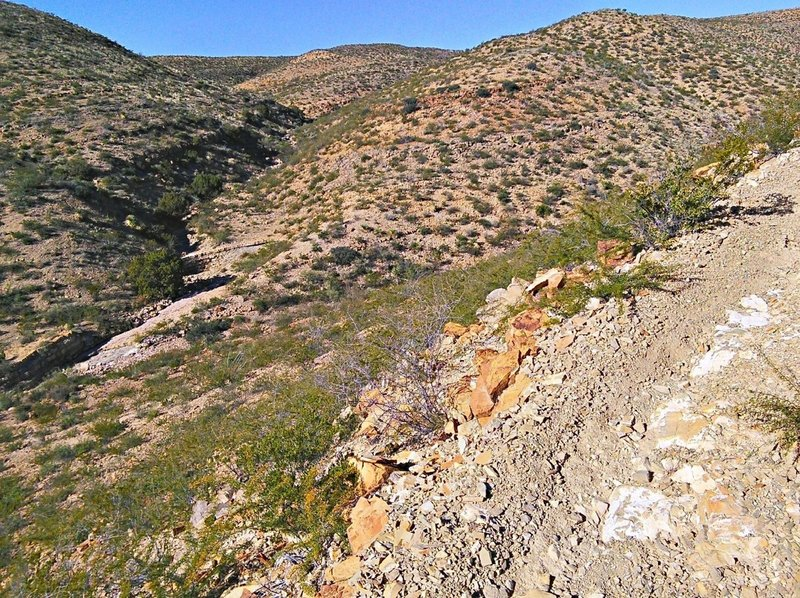 Looking up the main drainage that the SST Trail follows.