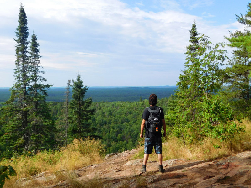 A spectacular view high above the tree canopy of Superior National Forest from atop Eagle Mountain.