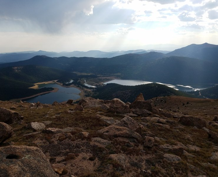 View of Mason and McReynolds Reservoirs from atop Amalgre Mountain.