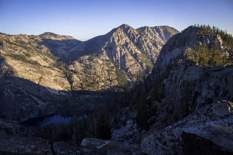 Eagle Lake and surrounding peaks taken during the early morning. From Granite Lake Trail in Lake Tahoe.
