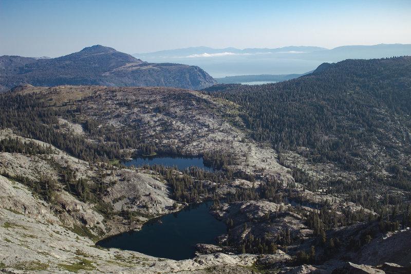 Ralston and Tamarack Lakes taken from the summit of Ralston Peak. Looking east at Lake Tahoe.