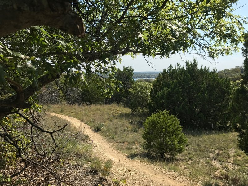 Quanah Hill 1886 Trail view from bench in quiet secluded picnic area.