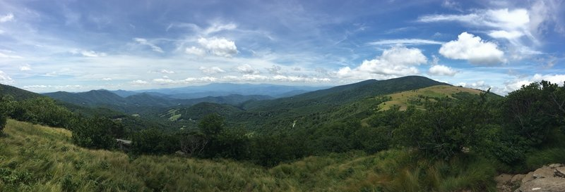 View atop Jane Bald with Round Bald and Roan High Knob off to the right.