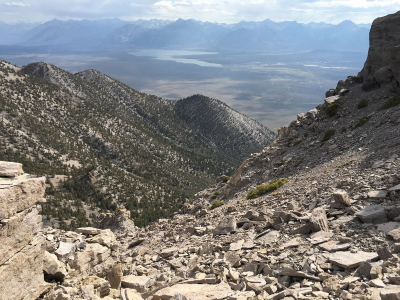 View of Long Valley and Lake Crowley from the summit of Glass Mountain.
