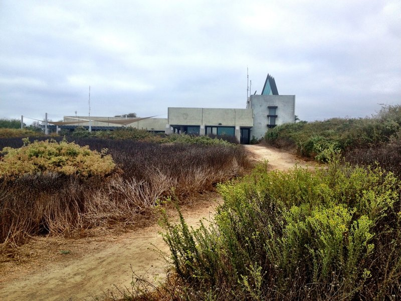 Tijuana River Visitor Center from the trail. Five-acre native plant garden surrounds the visitor center.