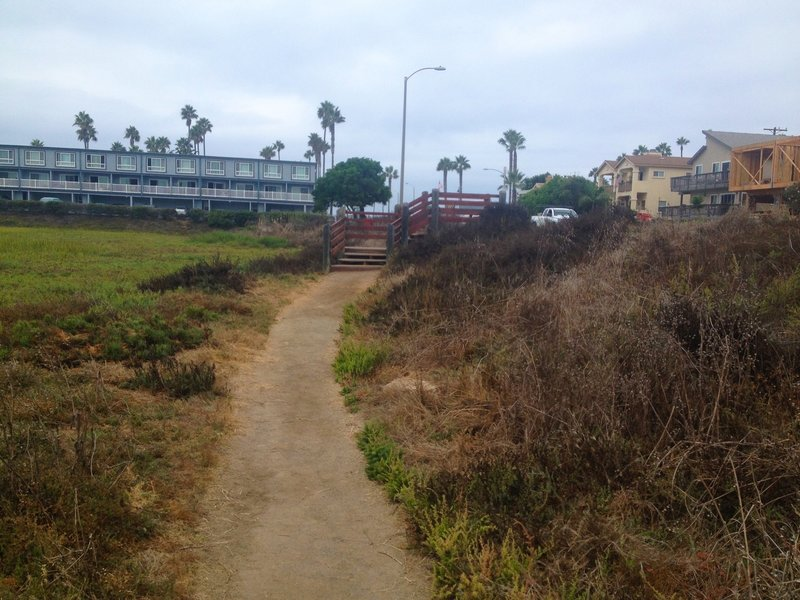 Stairs leading out of the Estuary and up to Imperial Beach Boulevard. The ocean is a short walk to the left.