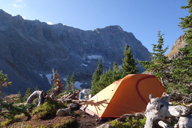 The view south from Campsite 6, looking at Capitol Peak/Lake.