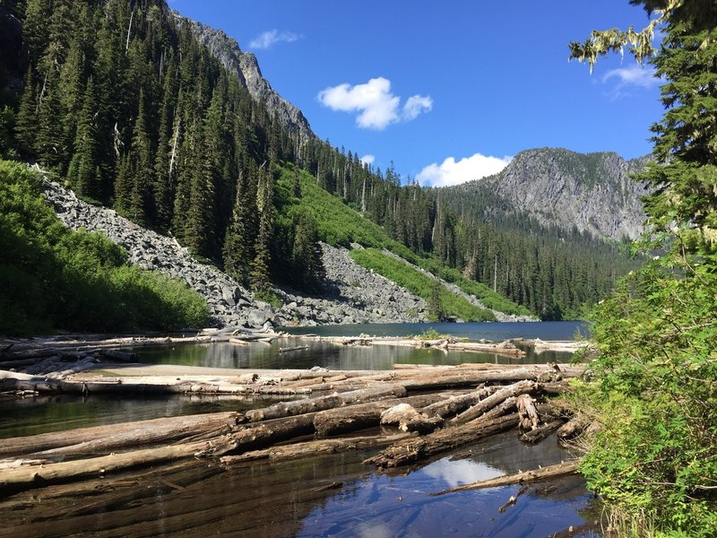 Logjam at West end of Eaton Lake