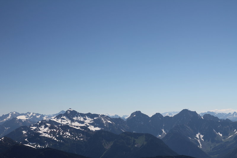 Silvertip Mountain, left centre, from Mount Outram summit