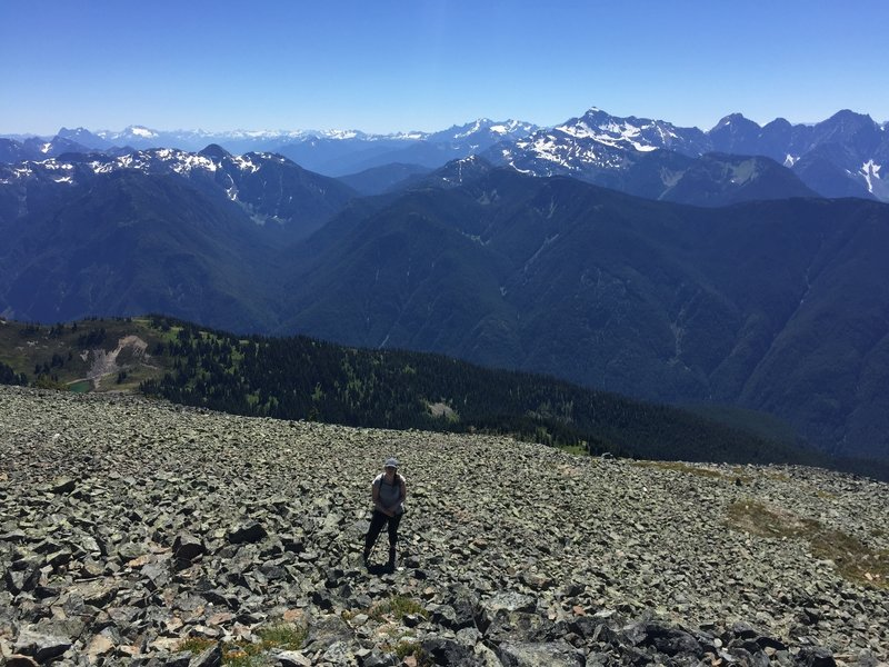 Talus slog towards summit of Mount Outram