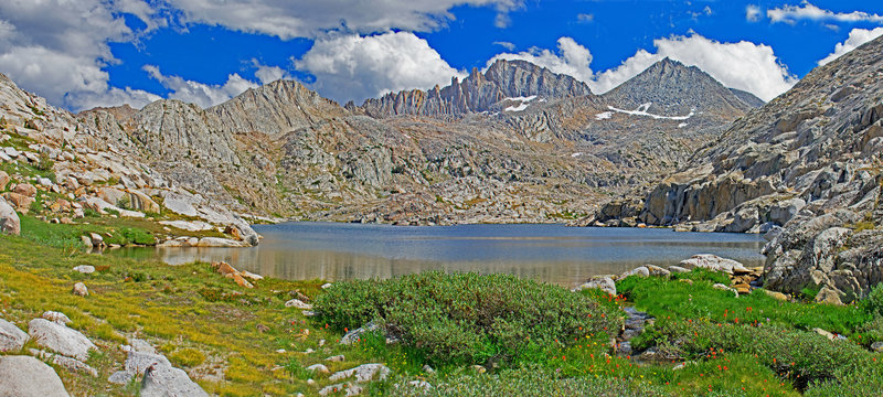 Outlet from Vee Lake with Feather Peak in the background