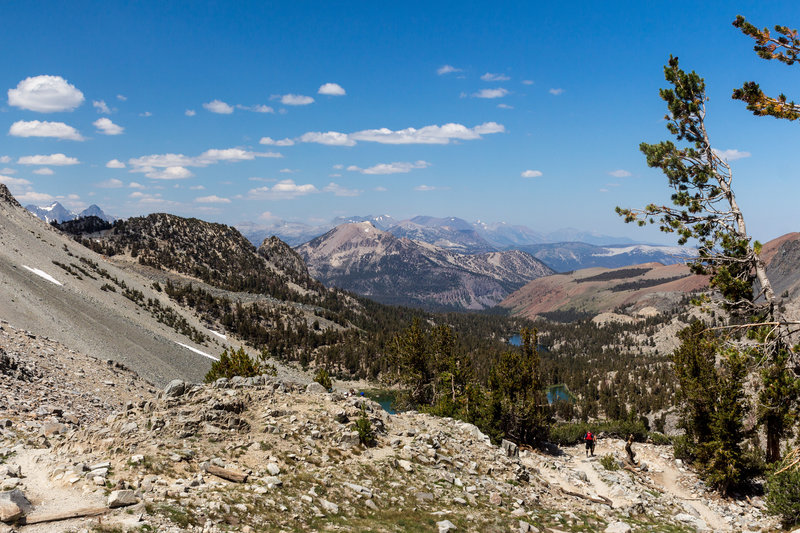Mammoth Mountain, Barney Lake, and Skelton Lake from Duck Pass Trail