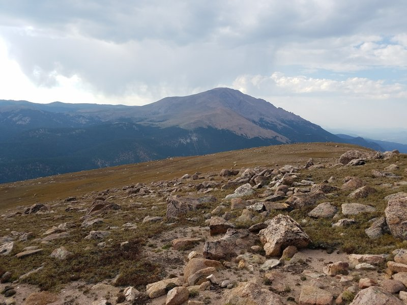 View of Pikes Peak from the summit of Almagre Mountain.