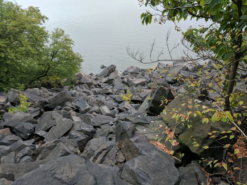 Top of the first pile of rocks near the start of the rock scrambling.