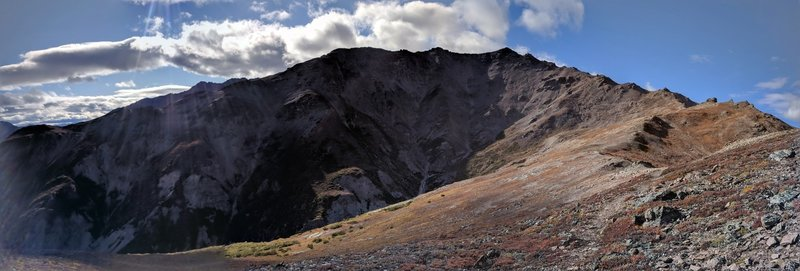 Looking up the ridge line to the summit of Mount Healy.