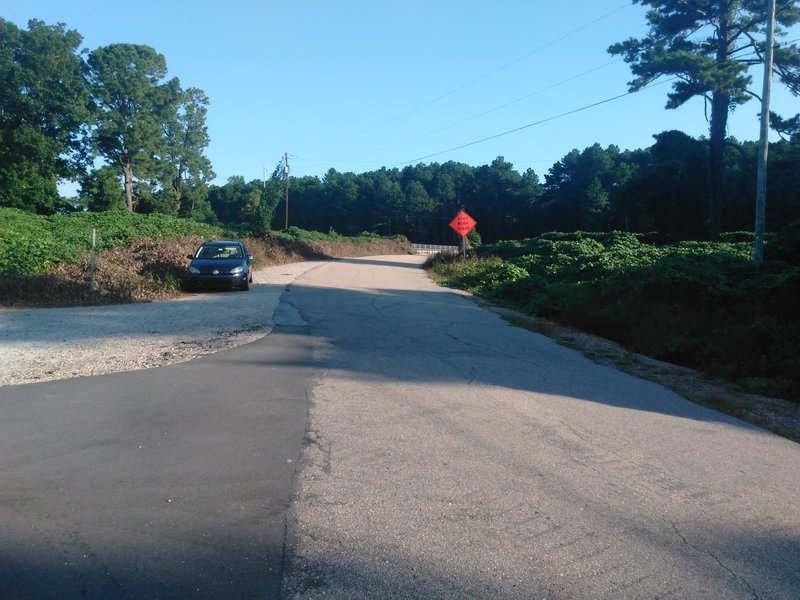 Entrance to Umstead Park from Old Reedy Creek Road.