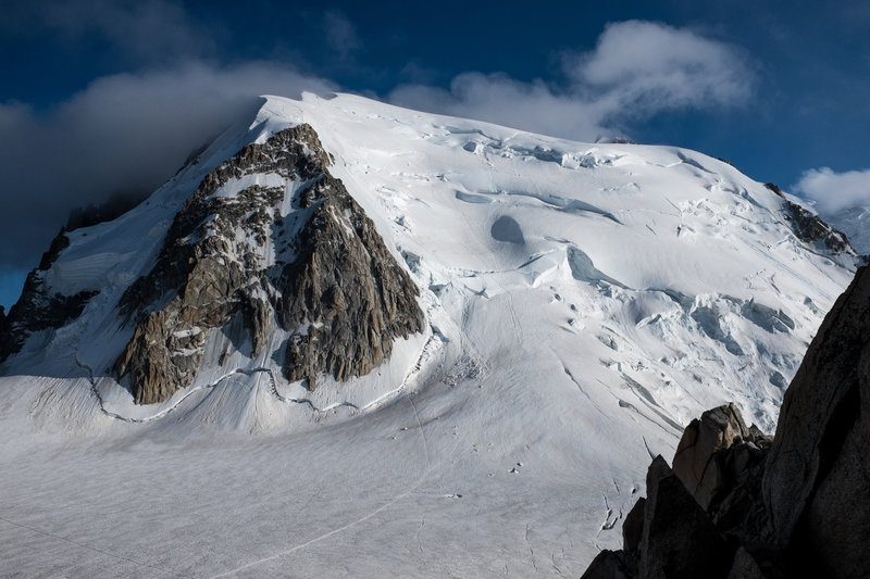The north face of Tacul as seen from the Cosmiques Hut