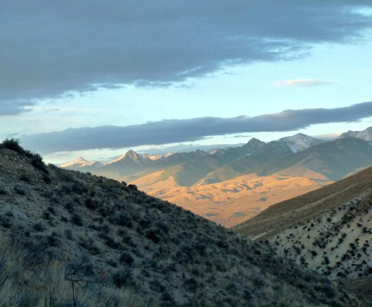 The Beaverhead Mountains provide a dramatic backdrop for a late evening Barracks Lane session.