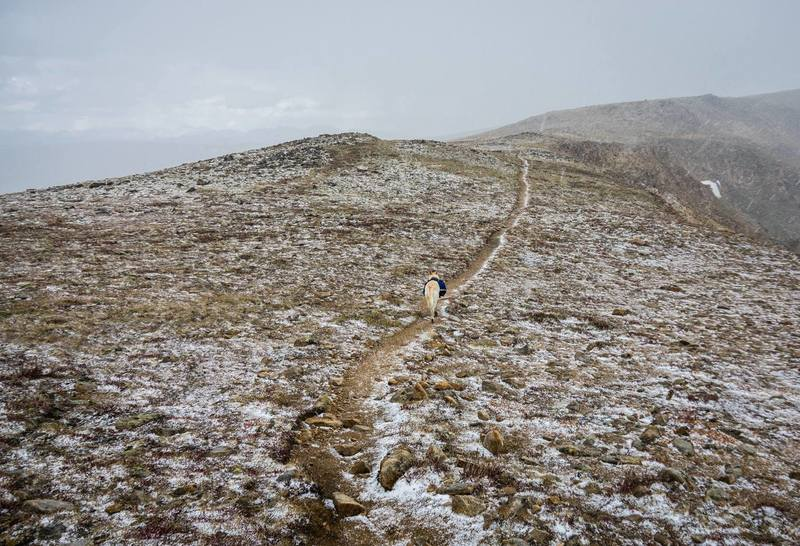 Suffering through some weather during return from Stanley Mountain summit