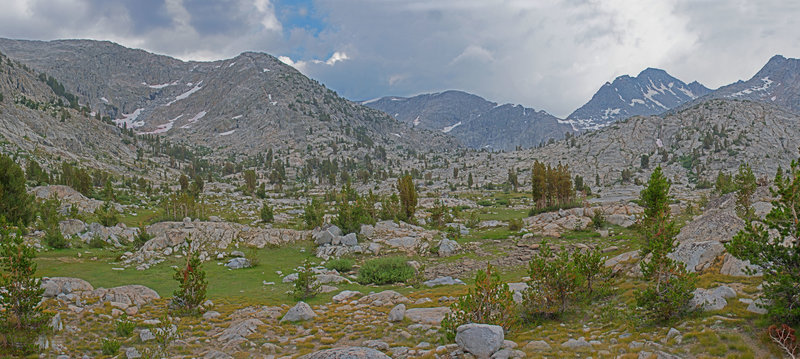 Valley on route to Three Island Lake, with sound of 500 foot cascade (not visible) and surrounded on 3 sides by granite peaks.