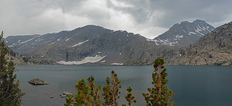 Three Island Lake just before a hail storm. Mt. Senger is on the right.