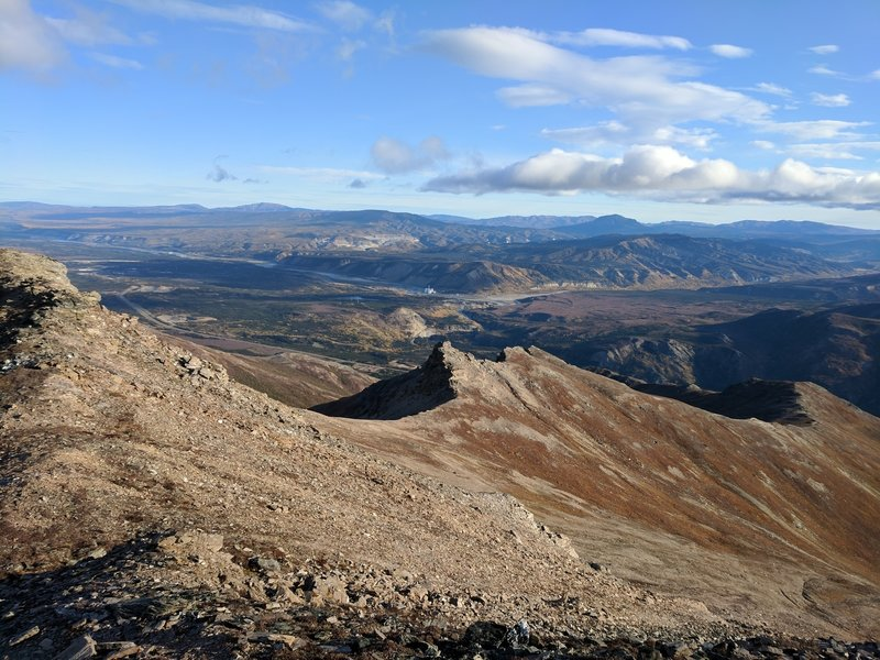Looking down the ridgeline from near the summit.