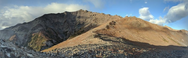 Looking up the ridgeline to the summit of Mount Healy from atop the first climb.