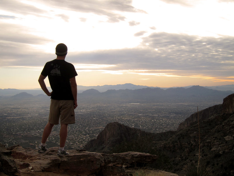 Hiker and Tucson from Pusch Ridge Wilderness Finger Rock Canyon