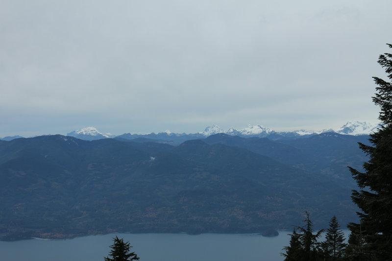 Harrison Lake, Robie Reid, Judge Howay and Golden Ears from Slollicum Peak