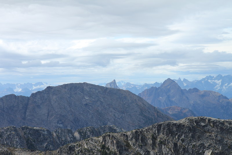 View of Hozomeen Mountain from Frosty Mountain summit cairn
