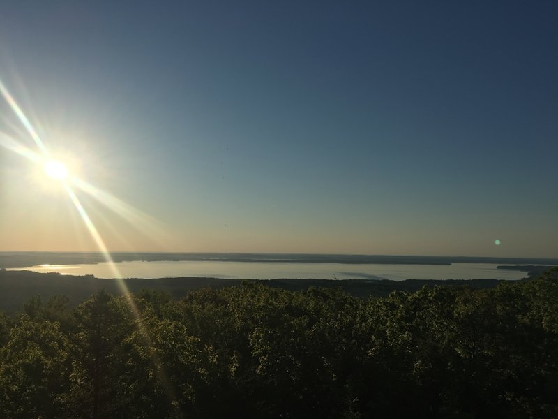 View of Sebago Lake from the top of Douglas Mountain stone tower.