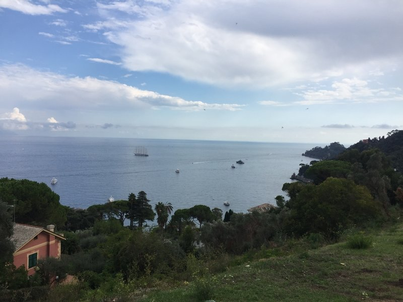 Views of the Ligurian Sea, and the many yachts and cruise ships in it, abound along this hike.