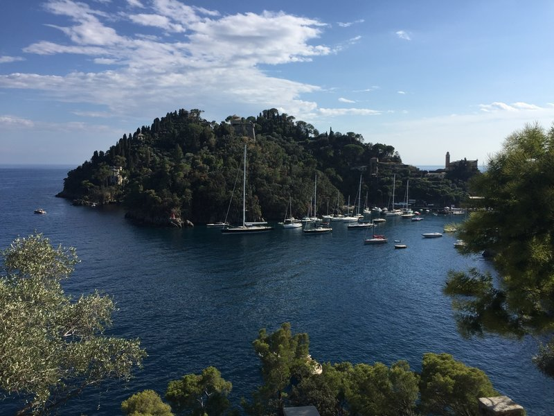 The bay at Portofino is protected by an ancient castle.