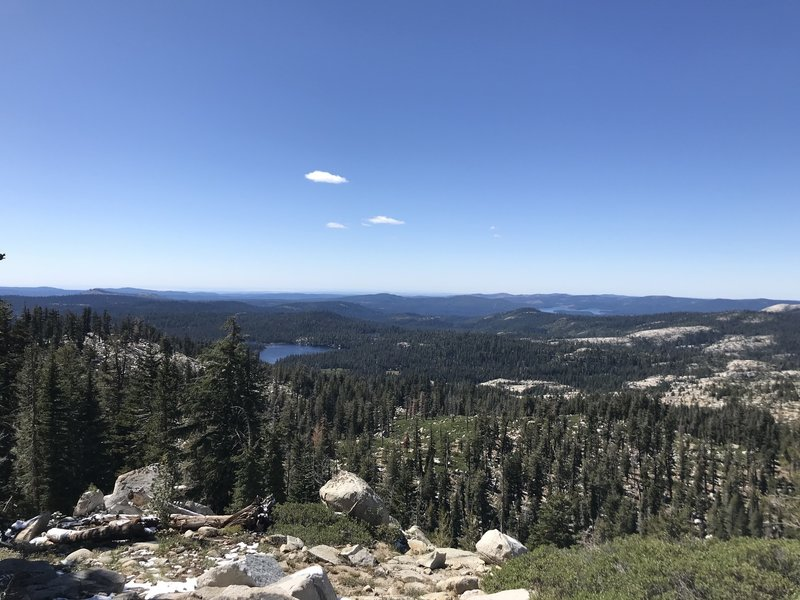The view looking toward the East from the Grouse Lake Trail. You can see Wrights Lake and Union Valley Reservoir.