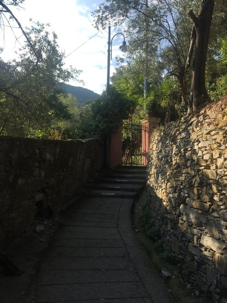 Typical stairs past villas
