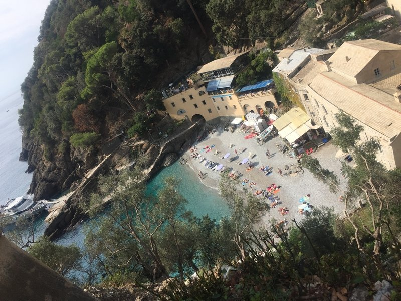 The view of San Fruttuoso from the guard tower. The smooth stone beach has very clear water and great swimming, perfect after a nice day on the trails.