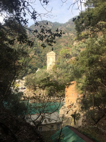 Looking back across the bay to the guard tower at San Fruttuoso