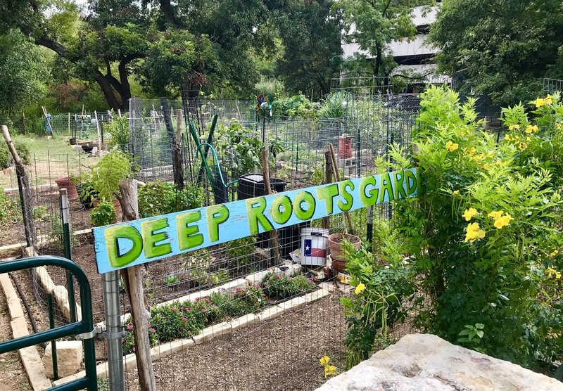 Deep Roots Garden along the Lower Shoal Creek Trail. Open to everyone... nice benches and shade for snack/lunch.  Right by the REI store parking lot in downtown Austin (nice spot to park to do this trail)