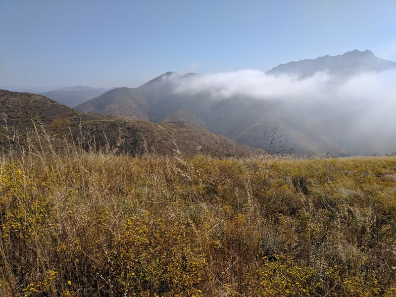 Morning clouds burning off above Sycamore Canyon. This viewpoint has a picnic table.