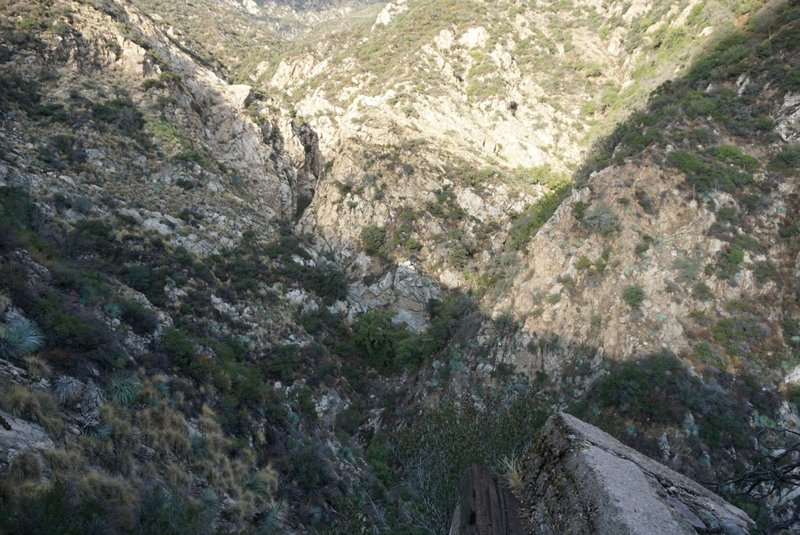 A precariously perched railway remnant juts out over the steep slopes of Castle Canyon.