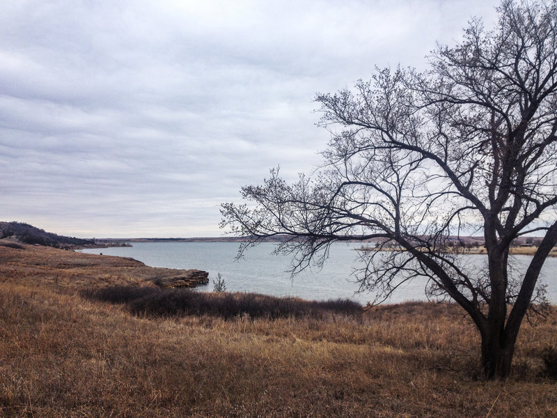 Typical beautiful view of the lake on the winding Switchgrass Trail.