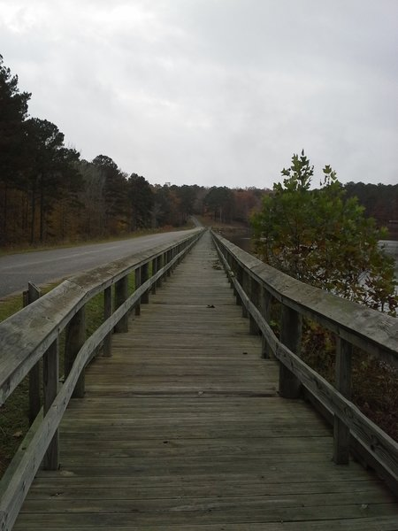 Boardwalk along Choctaw Lake Dam on the Lake Side Trail.