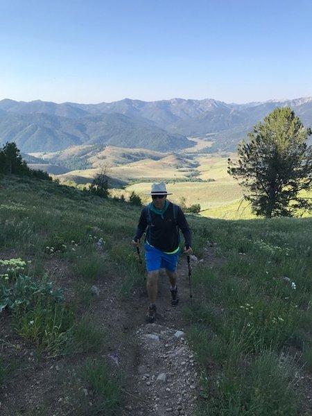 Hiking in the meadow near the trailhead.